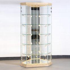 Abschließbare Standvitrine aus Glas