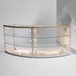Gebogene Thekenvitrine aus Glas